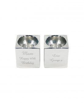 Engraved 2 Small Candle Holders